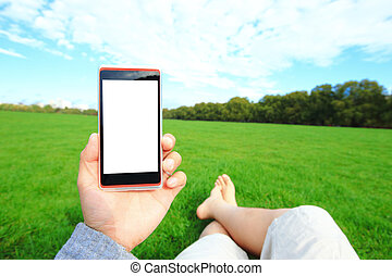 Using smart phone with nature