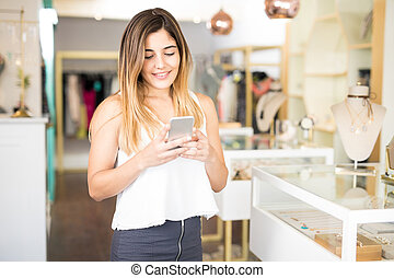 Using smartphone in a jewelry store