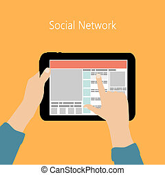 Using Social Network Concept Flat Vector Illustration