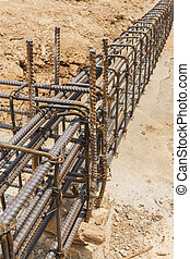Using steel wire (rebar) for securing steel bars with wire...