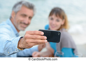 using the cellphone's front camera