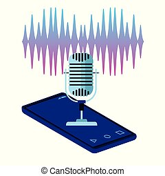 using voice recognition digital technology vector ...