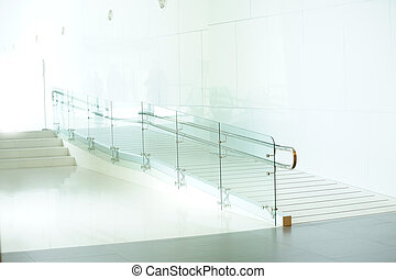 Using wheelchair ramp, in hotel, office, shopping mall or...