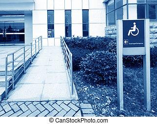 using wheelchair ramp(Barrier-free access)