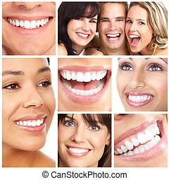 usmíva se, a, zuby