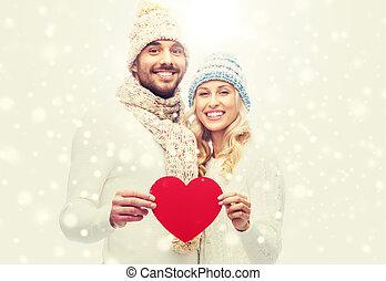 usmívaní, dvojice, do, zima šaty, s, červené šaty jádro