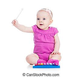 usmívaní, hračka, hraní, holčička, hudební