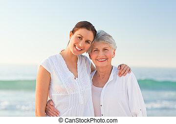 usmívaní, ji, dcera, matka