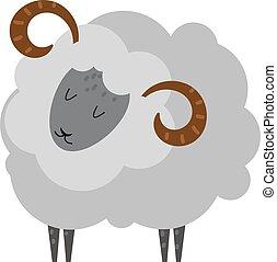 usmívaní, sheep, karikatura, animální, jehně, savec, vector.