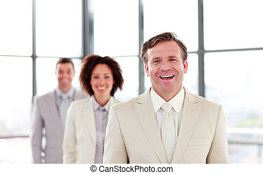 usmívaní, uzrát, obchodník, vůdčí, jeden, mužstvo
