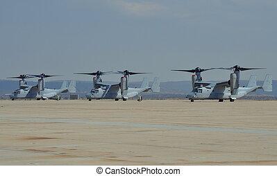 USMC MV-22 Osprey Aircraft - USMC MV-22 Osprey parked on the...