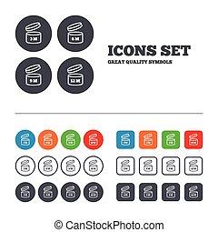 uso, apertura, secondo, prodotto, icons., data scadenza