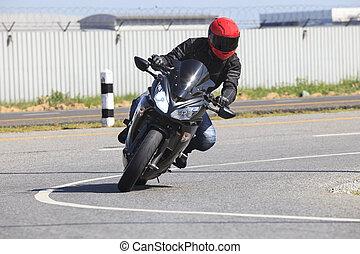 uso, asfalto, curva, jovem, motocicleta, montando, macho, estrada, homem