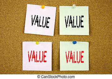 uso, conceito, negócio, morais, caption, importância, texto, mostrando, princípios, valor, nota pegajosa, close-up, benefício, mão, conceitual, ética, escrita, colorido, inspiração
