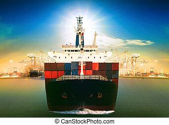 uso, contenedor, comercial, fr, muelle, atrás, vasija, barco...