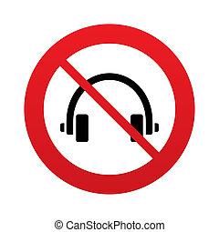 uso, cuffie, button., don`t, segno, icon., auricolari