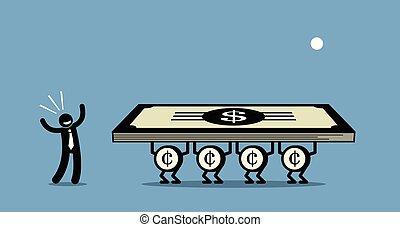 uso, dinheiro, fazer, mais, dinheiro.