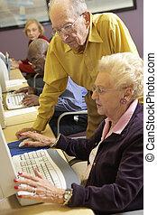 uso, donna, porzione, computer, uomo senior