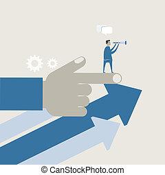 uso, empresa / negocio, gráfico, pronosticar, ilustración, vector, binnocular, hombre