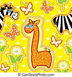 uso, fatto, animali, modello, immagini, -, seamless, mano, children., giraffa, zebra, fondo, pronto, disinserimento, swatch., cartone animato
