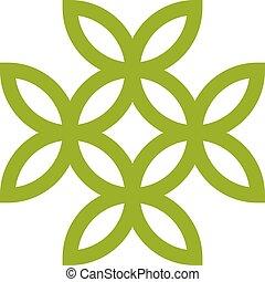 uso, fiore, stile di vita, sano, organizations., foglie, isolato, fondo., verde, trattamento, concettuale, life., bianco, medico, icona