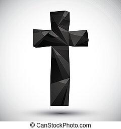 uso, hecho, icono, moderno, cruz, negro, geométrico, 3d, ...