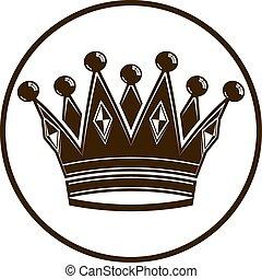 uso, illustration., classico, vendemmia, 3d, corona imperiale, vip, pubblicità, coronet, simbolo, design., lusso