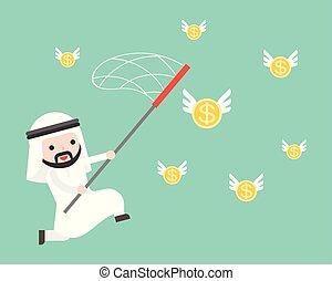 uso, monete, oro, volare, arabo, presa, uomo affari, rete