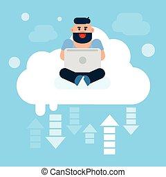 uso, nuvens, sentando, tecnologia, laptop, online, computador, internet, dados, nuvem, homem