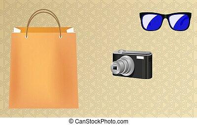 uso ojo, bolsa, ilustración, compras, simulado, cámara, ...