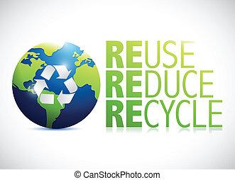 uso repetido, globo, reducir, ilustración, diseño, reciclar