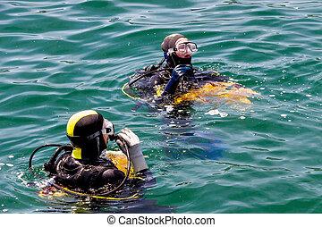 uso, salvamento, mergulhadores