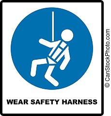 uso, seguridad, arnés, señal