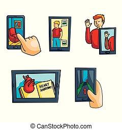 uso, set, attrezzo, moderno, realtà, ogni giorno, augmented