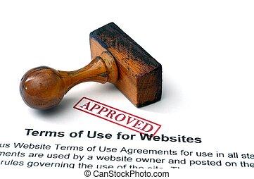 uso, términos, sitios web