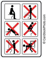 uso, toilette, como, ilustração, sinais, não