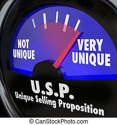 USP Unique Selling Proposition Gauge Level Different Special Qua