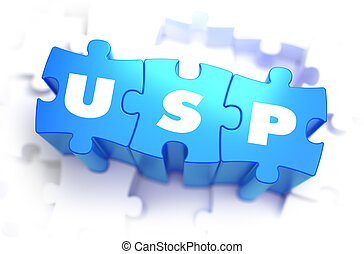 USP - White Word on Blue Puzzles. - USP - Unique Selling ...