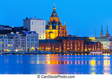 Uspensky Cathedral in Helsinki, Finland - Scenic evening...