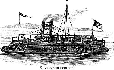 USS Baron DeKalb, vintage engraved illustration. Trousset ...