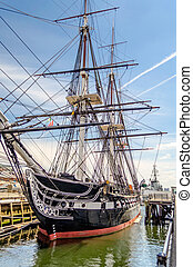 USS Constitution, Boston - USS Constitution, wooden-hulled,...