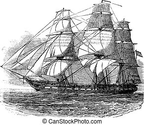 USS Constitution, vintage engraved illustration. Trousset ...
