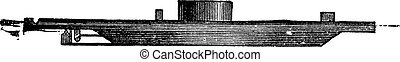 USS Monitor, vintage engraved illustration. Trousset...