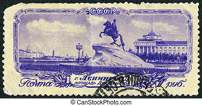 USSR - 1953: shows statue of Peter the Great, Decembrists Square, Leningrad, Saint Petersburg