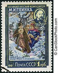 USSR - 1957: shows Scene from opera Ivan Susanin, Mikhail  Glinka (1804-1857), composer