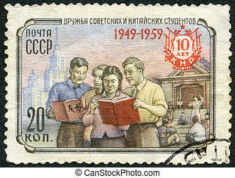 USSR - 1959: shows Soviet and Chinese Students, friendship, series People's Republic of China, PRC, 10th anniversary