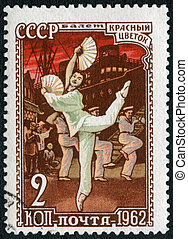 USSR - 1962: shows an episode from ballet Red Flower, series Honoring the Russian Ballet
