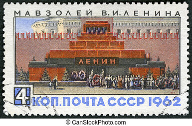 USSR - 1962: shows Lenin Mausoleum, Red Square, devoted 92nd anniversary of Lenin's birth
