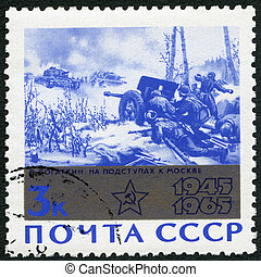 "USSR - 1965: shows ""Attack on Moscow"" by V. Bogatkin, devoted 20th Anniversary of the end of World War II"