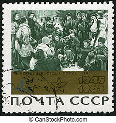 """USSR - 1965: shows """"Rest after the Battle"""" by Y. Neprintsev, devoted 20th Anniversary of the end of World War II"""